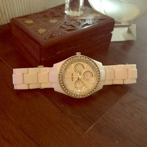 White Fossil watch with crystal inlays
